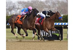 Marley's Freedom (inside) wins the Go For Wand Handicap at Aqueduct