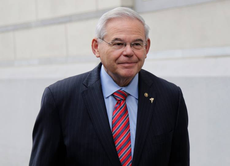 Sen. Bob Menendez (D-N.J.) arrives at court for his federal corruption trial Oct. 23 in Newark, N.J. (Seth Wenig/AP)