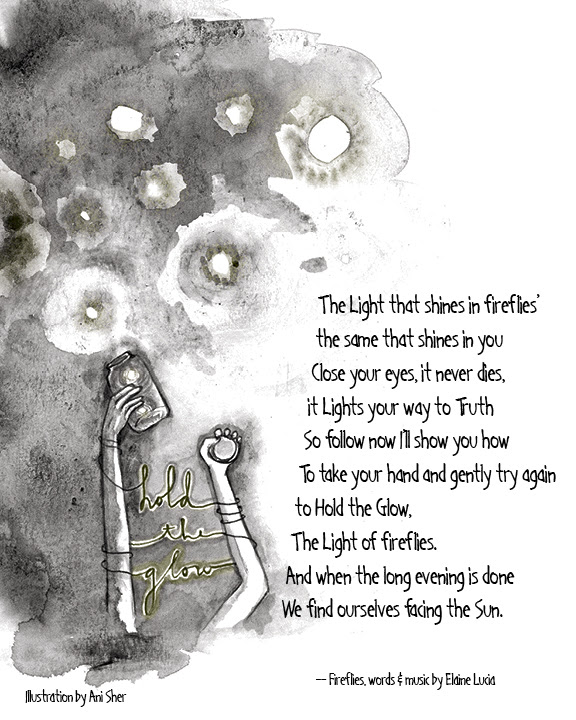 """Illustration by Ani Sher. Lyrics to song, """"Fireflies"""" by Elaine Lucia"""