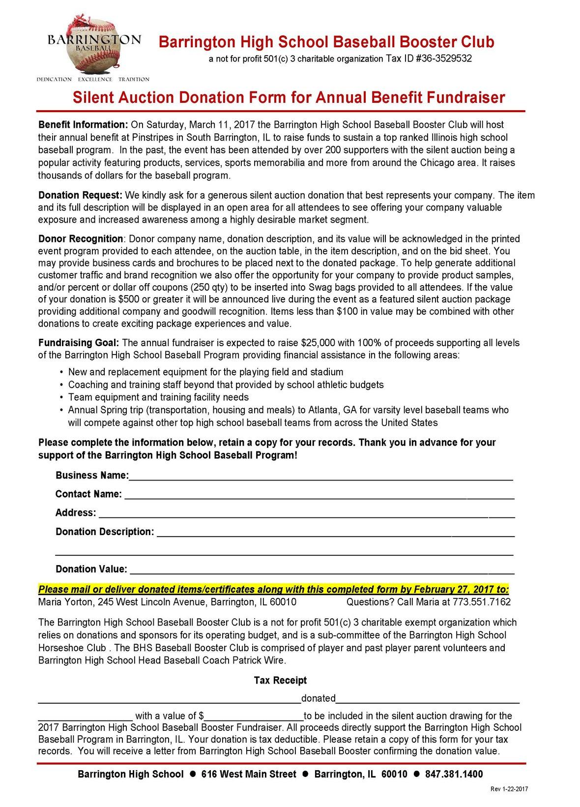 Silent Auction Donation Request Form - 2017BHSBaseballBoosterClub
