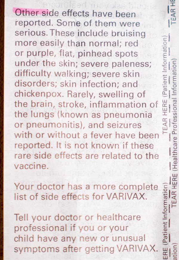 Varivax Vaccine Insert 14 - vacunas preguntas que nunca te permitirán realizar