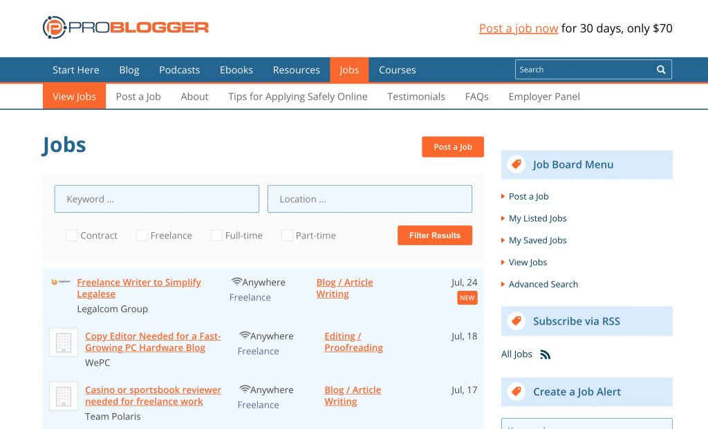 Problogger Job Board - Traffic Strategy