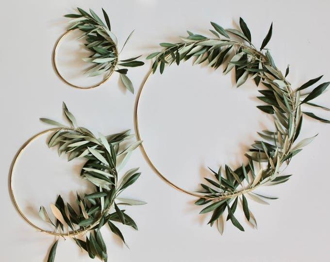 Gold hoop Scandinavian wreath, olive branch wreath, fresh olive wreath, minimal wreath, scandinavian decor, fall decor, holiday decor,