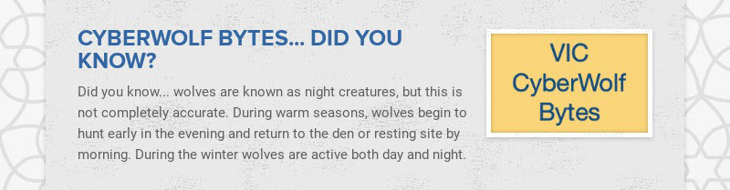 CYBERWOLF BYTES... DID YOU KNOW? Did you know... wolves are known as night creatures, but this is...