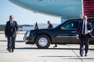 President Obama arrived for a town hall-style event on Tuesday in Greensboro, N.C.