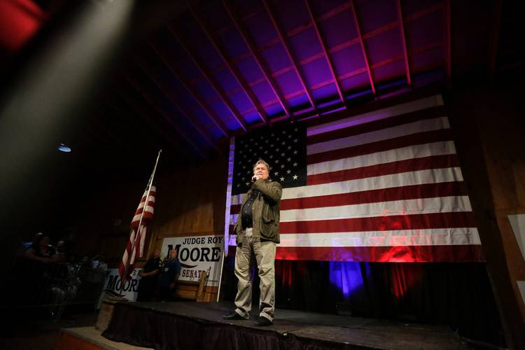 Steve Bannon speaks at a rally for U.S. Senate hopeful Roy Moore. (Brynn Anderson/AP)