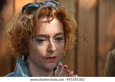 Marseille, France - October 06, 2016 : Chloe Verlhac (the wife of the French cartoonist Tignous) at the 5th edition of the International festival of press and political cartoons at l'Estaque.