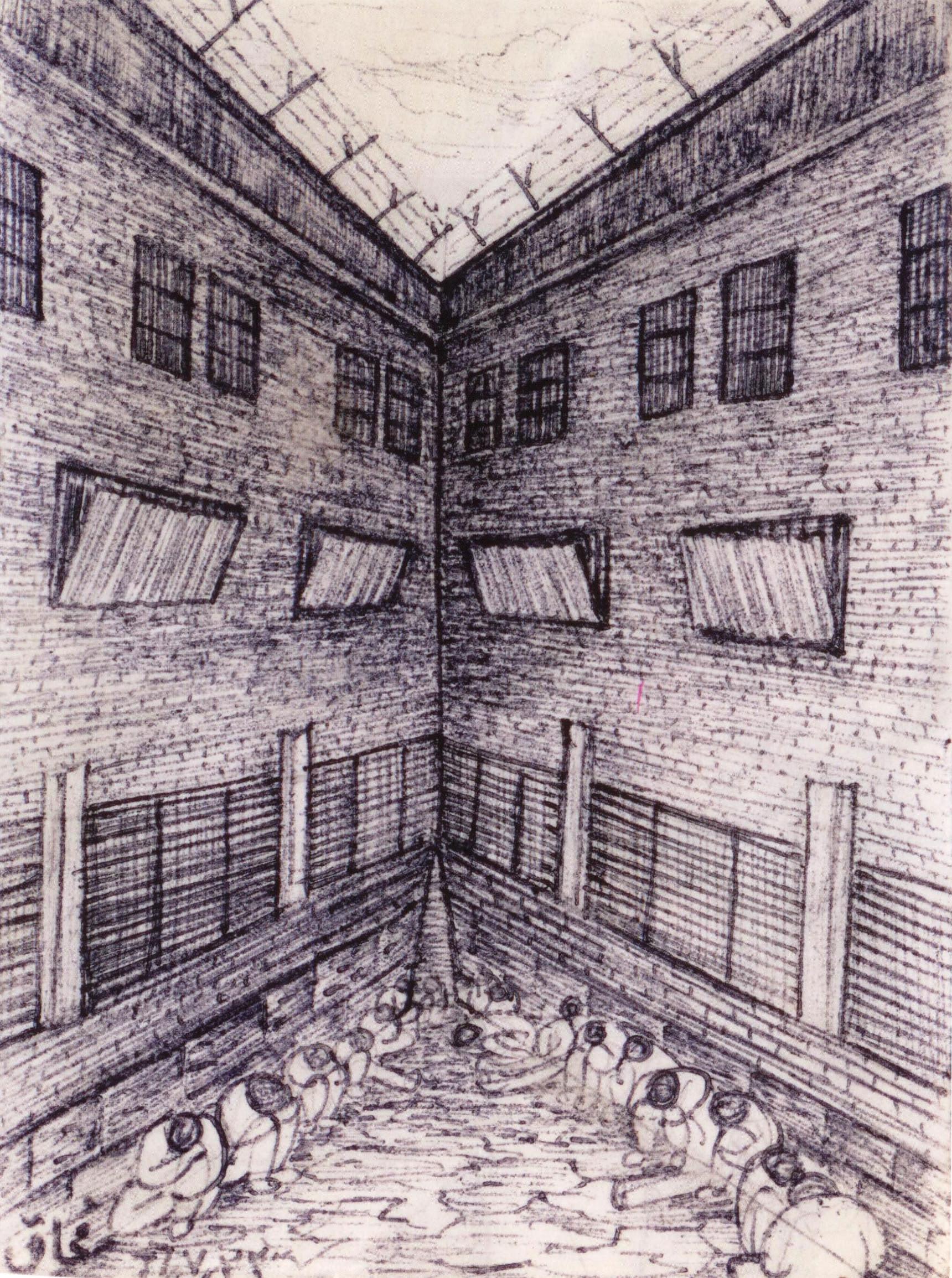 طراحی سودابه اردوان، یکی از زندانیان زندان اوین. ترکیبی از بخشهای مختلف زندان، شامل کریدورهای بازجویی، »آموزشگاه،« و بندهای ٢١٦ و ٣٢٥، برگرفته از کتاب او با نام خاطرات زندان