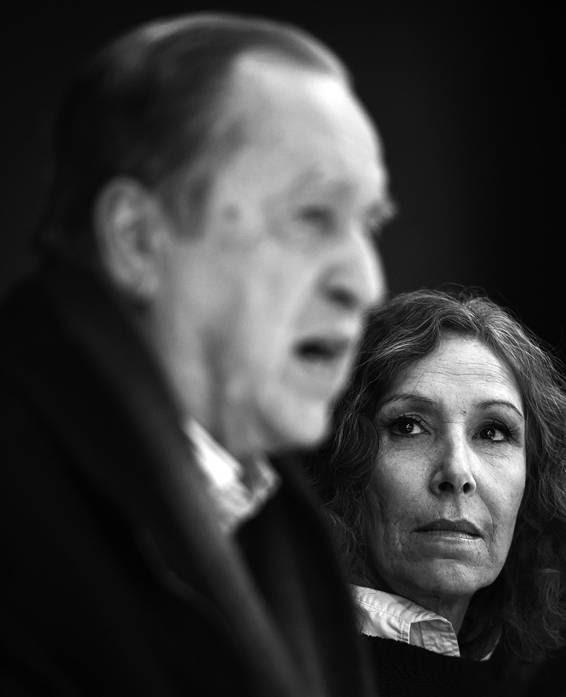 José Díaz y Constanza Moreira, ayer, en la sede del PIT-CNT. / Foto: Nicolás Celaya