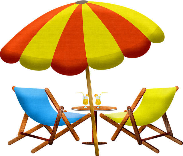 parasol and deckchairs