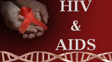 HIV & AIDS with hand holding a red ribbon and DNA
