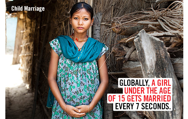 Child Marriage -  Globally, a girl under the age of 15 gets married every 7 seconds.