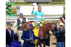 British Idiom is led to the winner's circle after her victory in the Breeders' Cup Juvenile Fillies at Santa Anita Park
