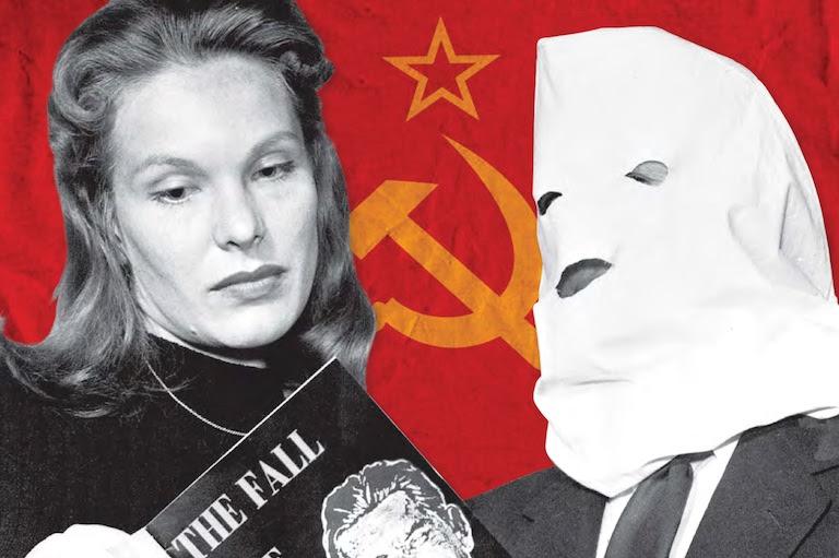 Graphic of Igor Gouzenko showing his book to an actress.