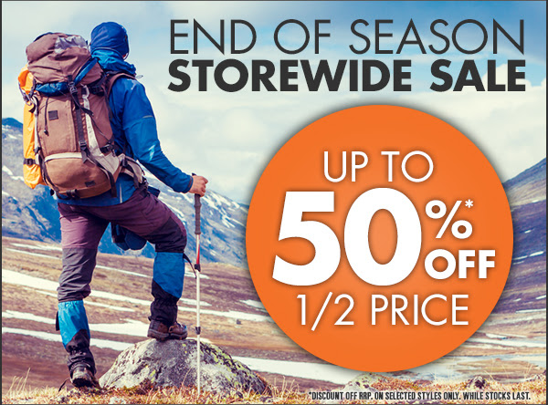 End Of Season Sale Up to 50% OFF Storewide +  Free Shipping On Orders Over $99 at Wildearth.com.au