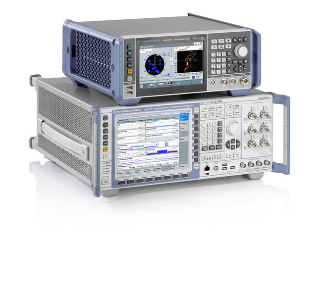 R&S CMW500 radio communication tester and the R&S SMBV100B vector signal generator
