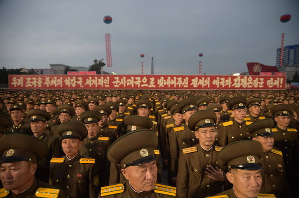 Korean People's Army soldiers attended a celebration this week in Pyongyang, North Korea, for scientists involved in carrying out its largest nuclear blast to date.