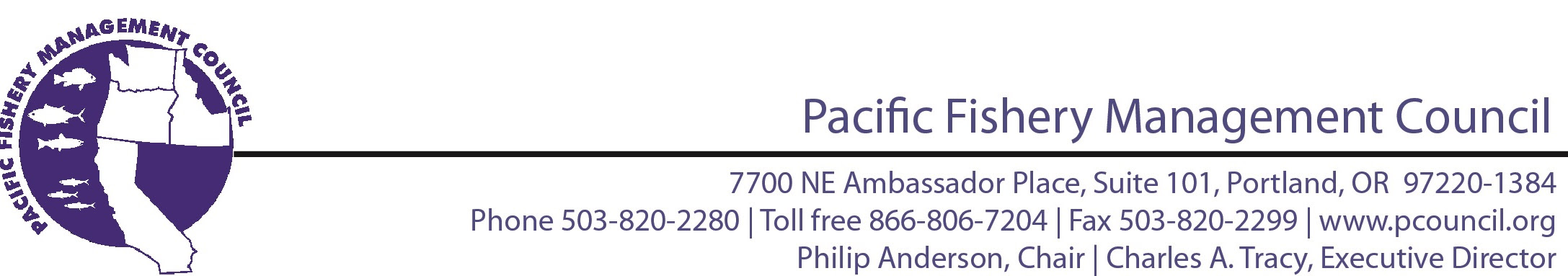 Pacific Fishery Management Council, Philip Anderson, Chair; Charles A. Tracy Executive Director