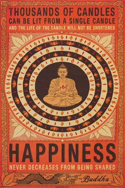 A great Buddhism quote poster! Happiness is to be shared with everyone, so be one of the Thousands of Candles. Fully licensed - 2012. Ships fast. 24x36 inches. Check out the rest of our inspiring selection of Buddhism posters! Need Poster Mounts..?   pw51273F   py32920