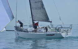 J/111 sailing double-handed in Bayview Mac race