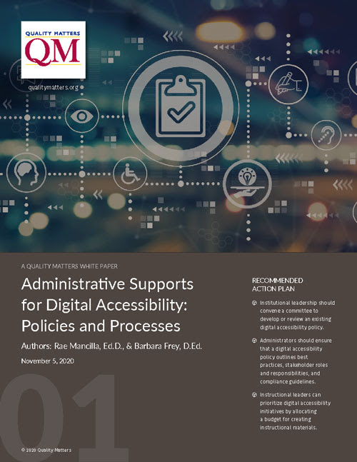 Administrative Supports for Digital Accessibility: Policies and Processes