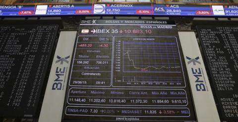 l principal indicador de la bolsa española, el IBEX 35, perdía un 4,66 % en los primeros minutos de una sesión marcada por el nerviosismo por el control de capitales impuesto en Grecia y la falta de acuerdo sobre la ayuda financiera al país. EFE/Zipi