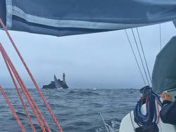 J/111 BLUR- sailing past Fastnet Rock