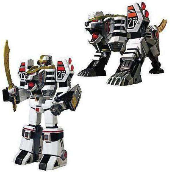 Image of Mighty Morphin Power Rangers White Tigerzord Legacy MegaZord Die-Cast Action Figure