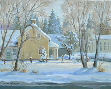 Painting of neighborhood winter scene by Susan Gallacher