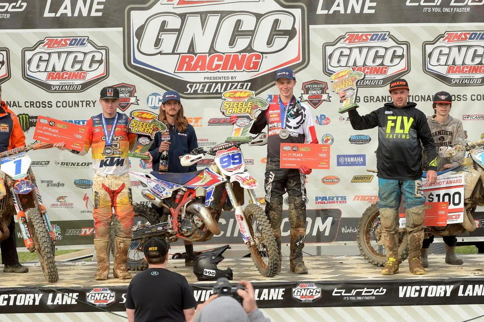 Cody Barnes (center), Jesse Ansley (left) and Jason Thomas (right) rounded out the FMF XC3 125 Pro-Am class.