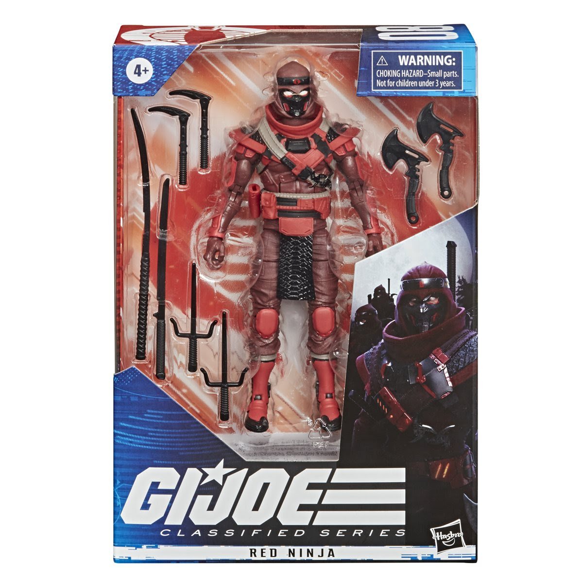 Hasbro G.I. Joe Classified Series Red Ninja Action Figure 08 Collectible Premium Toy with Multiple Accessories 6-Inch Scale with Custom Package Art