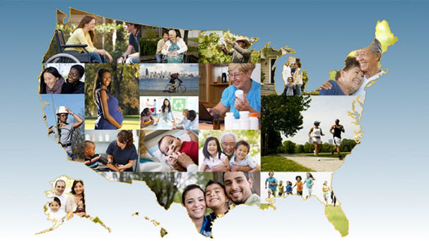 map of the US with photos representing Healthy People 2020