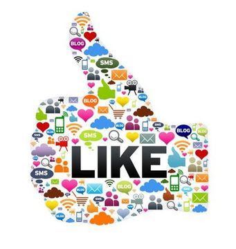 Thumbs up illustration made of social and web icons to illustrate SNAP - Social Network Auto Poster