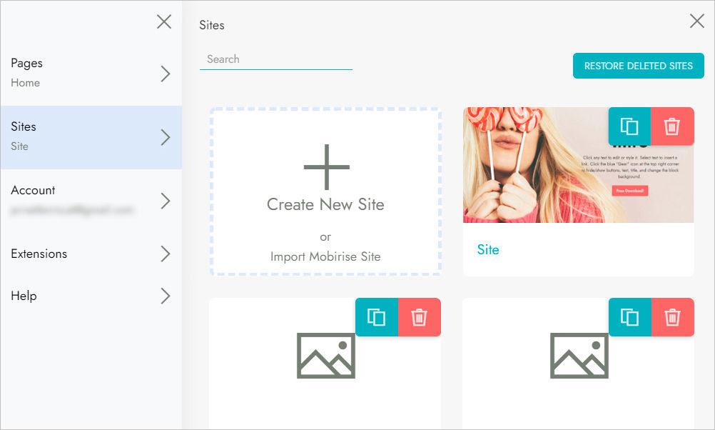 Sites panel screenshot
