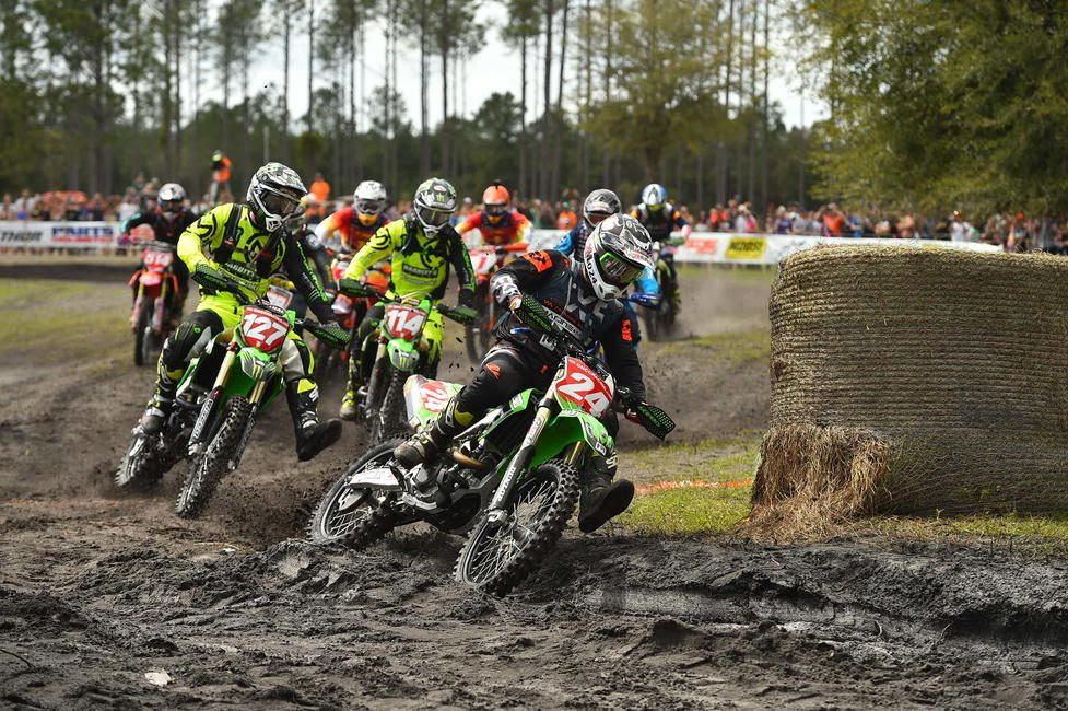It was a sea of green at the holeshot line for the XC1 class, Heath Harrison grabbed the $250.