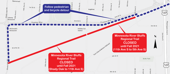 Minnesota River Bluff Trail from Shady Oak Road to 5th Avenue Detour