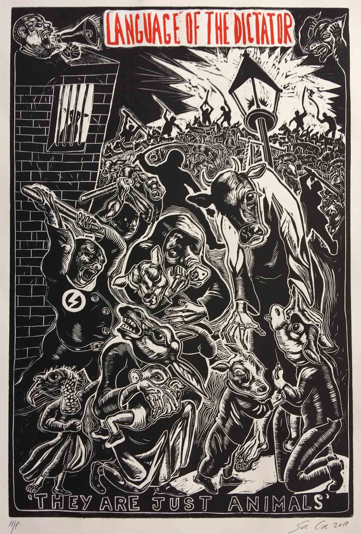 Sue Coe's illustration of animals being tortured.