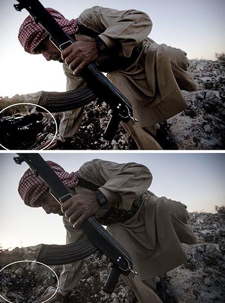 La foto de un combatiente de la oposición siria manipulada por el entonces fotógrafo de AP Narciso Contreras Remov
