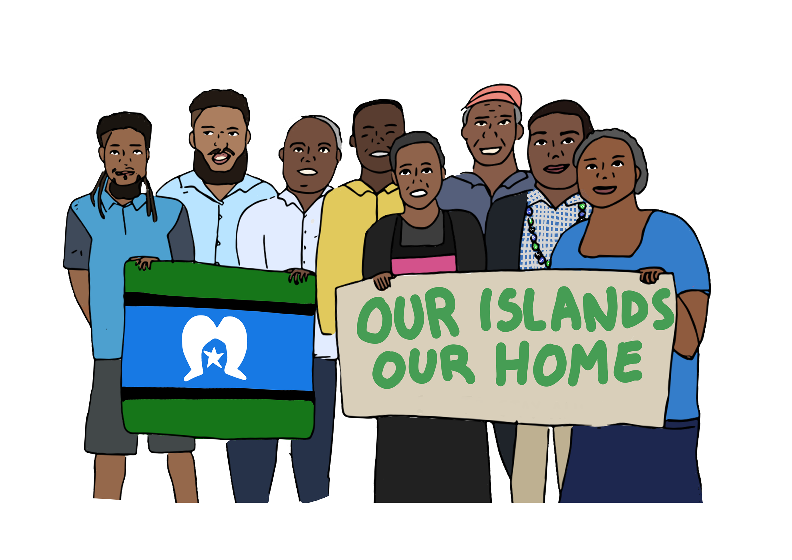 illustration of the Torres Strait 8 claimants holding an Our Islands Our Home banner