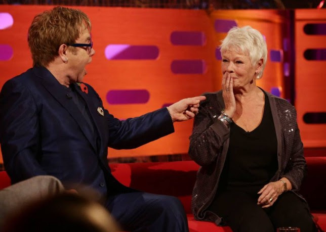 Embargoed to 0001 Friday November 1  Sir Elton John and Dame Judi Dench during filming of The Graham Norton Show at The London Studios in south London. PRESS ASSOCIATION Photo. Issue date: Thursday October 31, 2013. See PA story SHOWBIZ Norton . Photo credit should read: Yui Mok/PA Wire