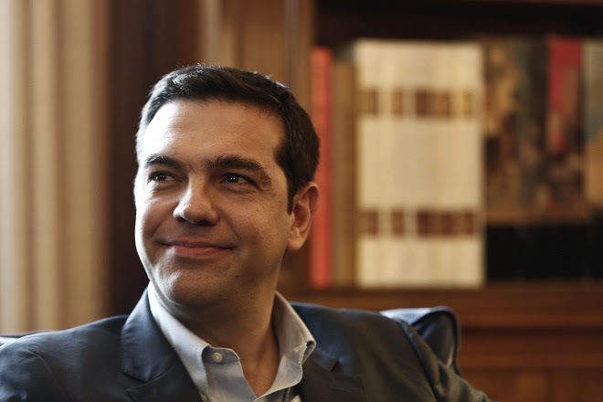 τσιπρας tsipras, leader of Greece's far-left Syriza party smiles during a meeting with Greek President Papoulias at the Presidential palace in Athens
