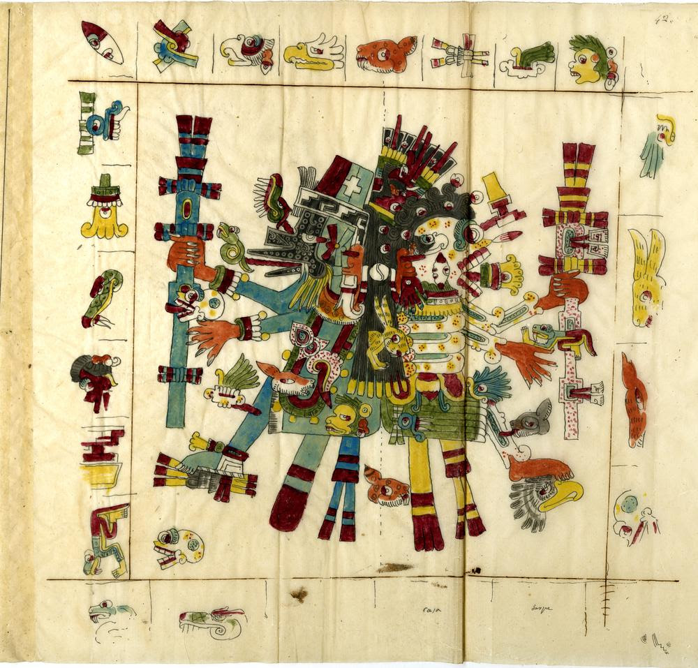 Codex; tracings of Codex Borgia, also known as Codex Borgianus and Códice Borgiano. A pre-Columbian pictorial manuscript; an important pictorial source for the study of Central Mexican gods, ritual, divination, calendar religion and iconography. P 42