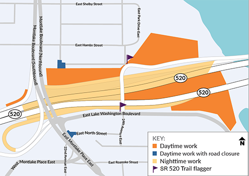 Map of the Montlake area with various workzones shaded in near state route 520