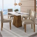 Conjunto Sala de Jantar Mesa Manuele 4 Cadeiras Giovana Siena Móveis Canela/Suede Bege