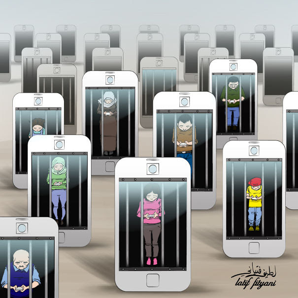 Satirical Illustrations Addiction to Technology22