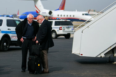 Senator Bernie Sanders, left, with his campaign manager, Jeff Weaver, in March. Mr. Weaver was named the head of Mr. Sanders's new political organization, prompting several staff members to quit.