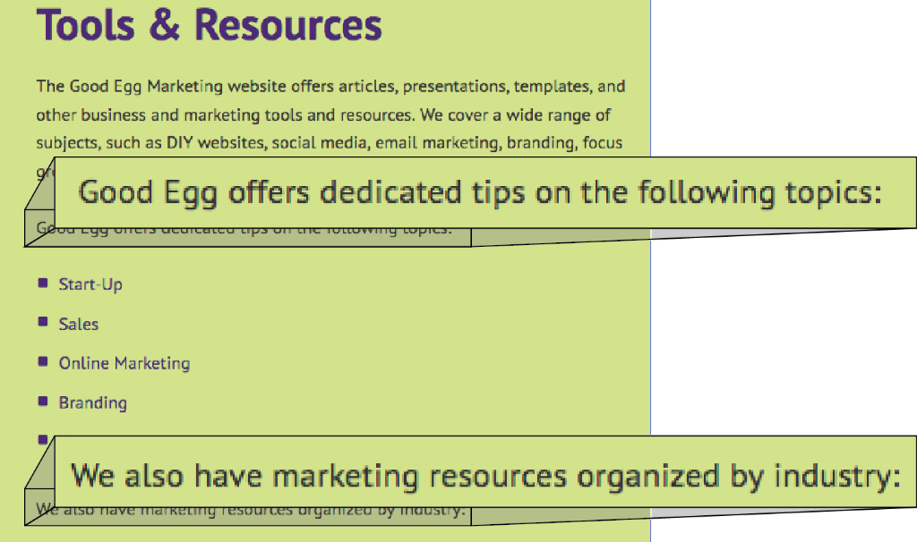 Tools and Resources page from Good Egg Marketing Website