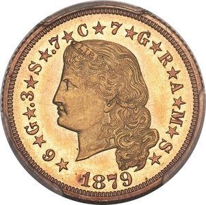 1879 $4 Flowing Hair, Judd-1635, Pollock-1833, R.3, PR66 PCGS Secure