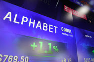 Alphabet's stock price on the Nasdaq MarketSite in New York in February. On Thursday, as soon as its earnings were released, the stock fell about 5 percent.