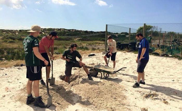 Un groupe de volontaires Projects Abroad creusent pour construire un nouveau centre communautaire au Cap, en Afrique du Sud